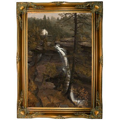'Kauterskill Falls 1846' Framed Graphic Art Print on Canvas Format: Ornate Gold Frame