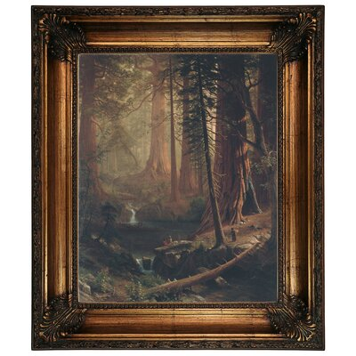 'Giant Redwood Trees of California 1874' Framed Graphic Art Print on Canvas Size: 26.25