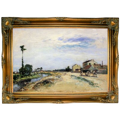 'Little Channel Along the Seine at Meudon 1865' Framed Graphic Art Print on Canvas Format: Ornate Gold Frame