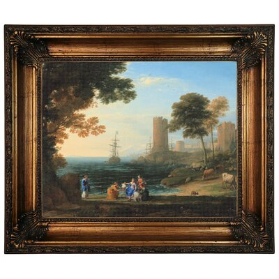'Coast View with the Abduction of Europa 1645' Framed Graphic Art Print on Canvas Size: 22.25