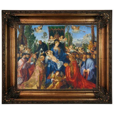 'Feast of Rose Garlands 1506' Framed Graphic Art Print on Canvas Size: 22.25