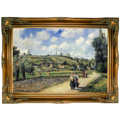 'Landscape Near Pontoise, the Auvers Road 1881' by Camille Pissarro Framed Graphic Art Print on Canvas Format: Ornate Gold Frame