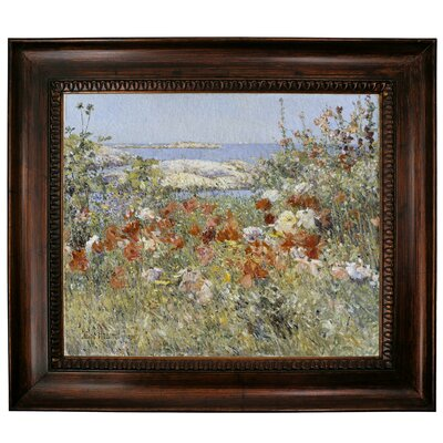 'Celia Thaxters Garden, Isles of Shoals, Maine, 1890' Framed Oil Painting Print on Canvas Size: 27