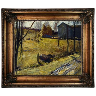 'Haystacks and Barn 1909' Framed Graphic Art Print on Canvas Size: 22.25