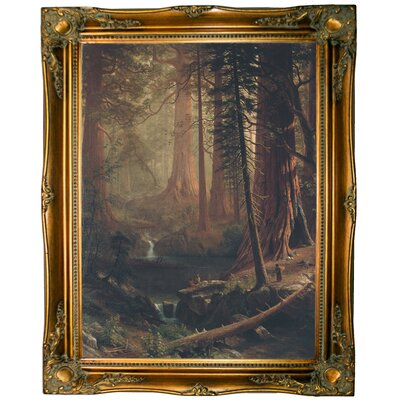 'Giant Redwood Trees of California 1874' Framed Graphic Art Print on Canvas Size: 17