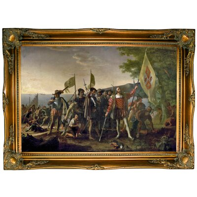 'Landing of Columbus' Framed Graphic Art Print on Canvas