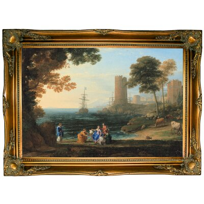 'Coast View with the Abduction of Europa 1645' Framed Graphic Art Print on Canvas Size: 24.5