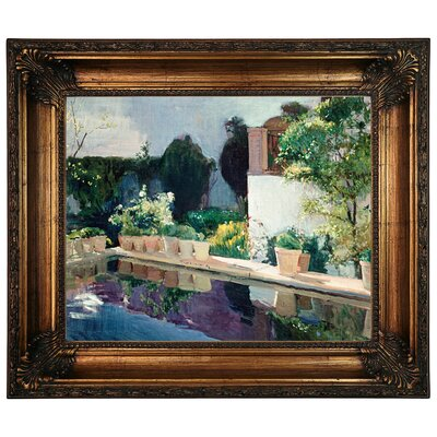 'Palace of Pond, Royal Gardens in Seville 1910' Framed Graphic Art Print on Canvas Size: 22.25