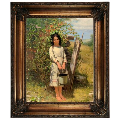 'Blackberry Picking 1875' Framed Graphic Art Print on Canvas Size: 26.25