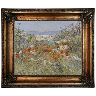 'Celia Thaxters Garden, Isles of Shoals, Maine, 1890' Framed Oil Painting Print on Canvas Size: 22.25
