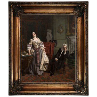 'Pope Makes Love to Lady Mary Wortley Montagu 1852' Framed Graphic Art Print on Canvas Size: 26.25
