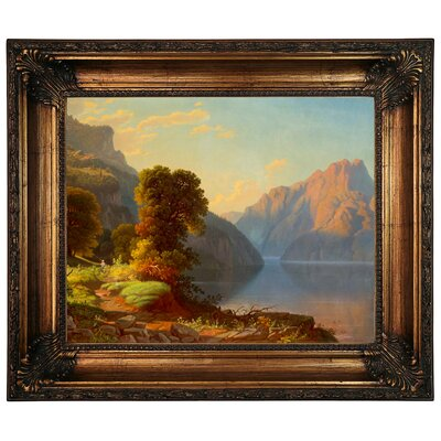 'A View of a Lake in the Mountains' Framed Graphic Art Print on Canvas Size: 22.25