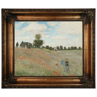'Poppy Fields' by Claude Monet Framed Graphic Art Print on Canvas Size: 22.25