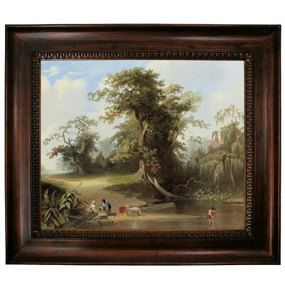 'Landscape - Rural Scene 1845' Framed Graphic Art Print on Canvas Format: Dark Gold Frame, Size: 27