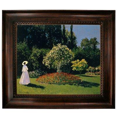 'Women in the Garden 2' by Claude Monet Framed Graphic Art Print on Canvas Format: Dark Gold Frame, Size: 27