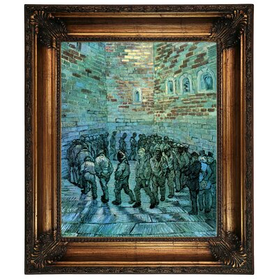 'Prisoners Exercising After Dore' by Vincent Van Gogh Framed Graphic Art Print on Canvas Size: 26.25