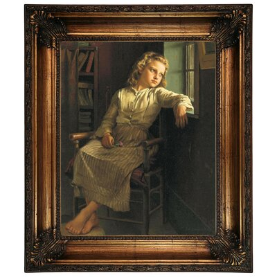 'Girl at the Window 1890' Framed Graphic Art Print on Canvas Size: 26.25