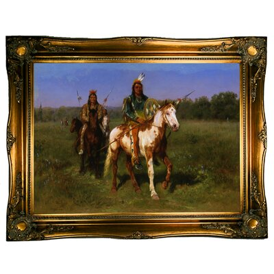 'Mounted Indians Carrying Spears 1890' Framed Graphic Art Print on Canvas Size: 24.5