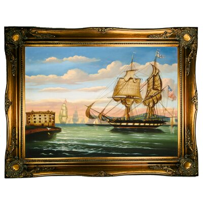 'Bay of New York, Sunset' Framed Graphic Art Print on Canvas