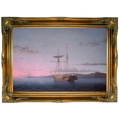 'Lumber Schooners at Evening on Penobscot Bay' Framed Graphic Art Print on Canvas
