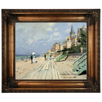 'Beach at Trouville' by Claude Monet Framed Graphic Art Print on Canvas Size: 22.25