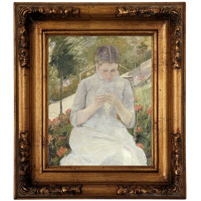 'Girl in the Garden' by Mary Cassatt Framed Canvas Print Size: 14.5
