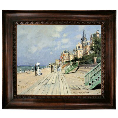 'Beach at Trouville' by Claude Monet Framed Graphic Art Print on Canvas Size: 27