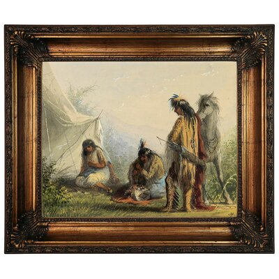 'Indian Courtship 1858' Framed Graphic Art Print on Canvas Size: 22.25