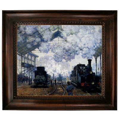 'Station Saint Lazare in Paris' by Claude Monet Framed Graphic Art Print on Canvas Size: 27