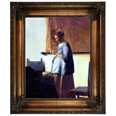 'Women in Blue Reading a Letter' by Johannes Vermeer Framed Graphic Art Print on Canvas Format: Antique Gold Frame, Size: 31