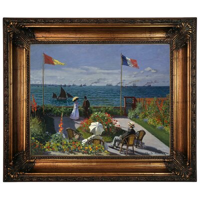 'Garden at Sainte Adresse' by Claude Monet Framed Graphic Art Print on Canvas Size: 22.25