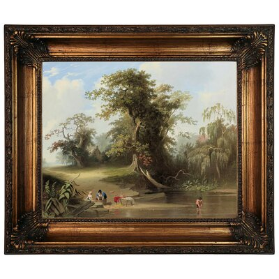 'Landscape - Rural Scene 1845' Framed Graphic Art Print on Canvas Format: Antique Gold Frame, Size: 22.25