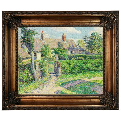 'Peasants Houses, Eragny 1887' by Camille Pissarro Framed Graphic Art Print on Canvas Size: 22.25