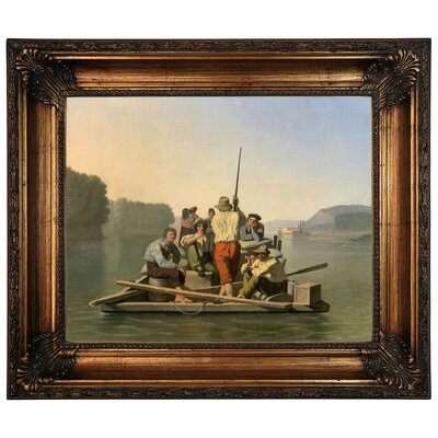 'Lighter Relieving a Steamboat Aground 1847' Framed Graphic Art Print on Canvas Size: 10.75