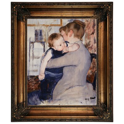 'Mother and Child' by Mary Cassatt Framed Graphic Art Print on Canvas Size: 26.25
