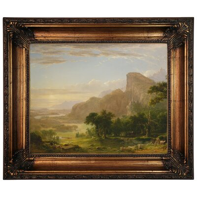 'Landscape Scene from Thanatopsis 1850' Framed Graphic Art Print on Canvas Format: Antique Gold Frame, Size: 22.25