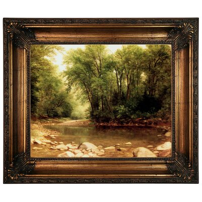 'Landscape 1867' Framed Graphic Art Print on Canvas Format: Antique Gold Frame, Size: 22.25