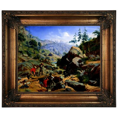 'Miners in the Sierras 1851' Framed Graphic Art Print on Canvas Size: 22.25