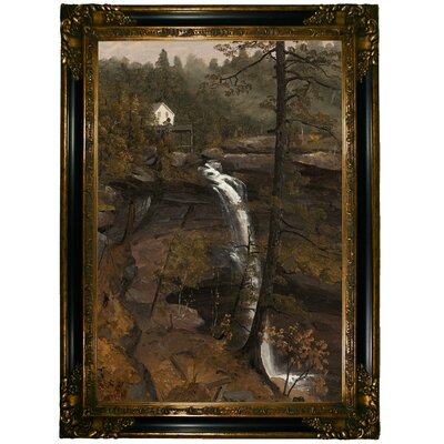 'Kauterskill Falls 1846' Framed Graphic Art Print on Canvas Format: Gold/Black Frame