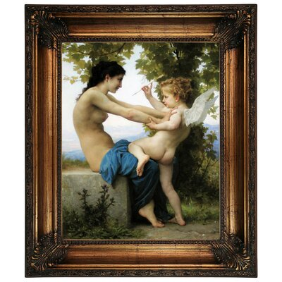 'A Young Girl Defending Herself Against Eros' Framed Graphic Art Print on Canvas Format: Antique Gold Frame, Size: 22.25