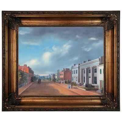 'Cincinnati Fourth Street East From Vine 1835' Framed Graphic Art Print on Canvas Size: 22.25