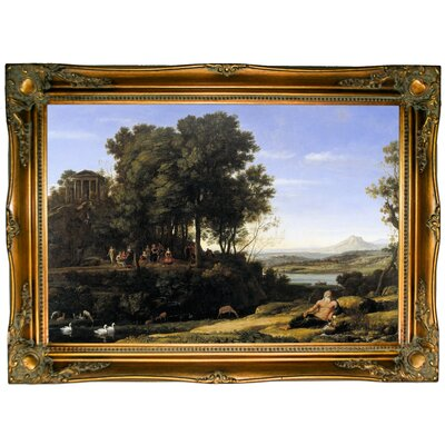 'Landscape with Apollo and the Muses 1652' Framed Graphic Art Print on Canvas Format: Ornate Gold Frame
