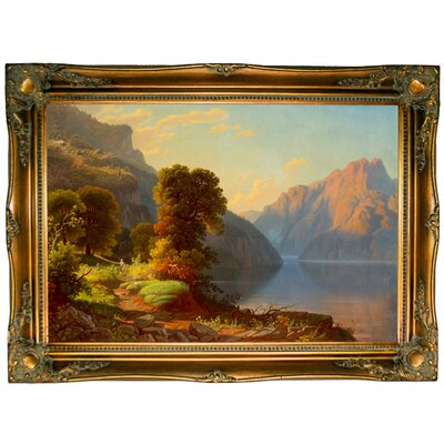 'A View of a Lake in the Mountains' Framed Graphic Art Print on Canvas Size: 24.5