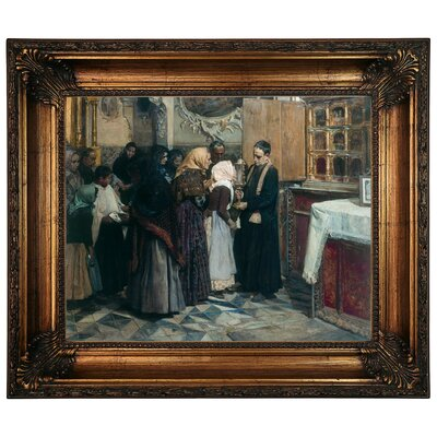 'Kissing the Relic 1893' Framed Oil Painting Print on Canvas Size: 12.5