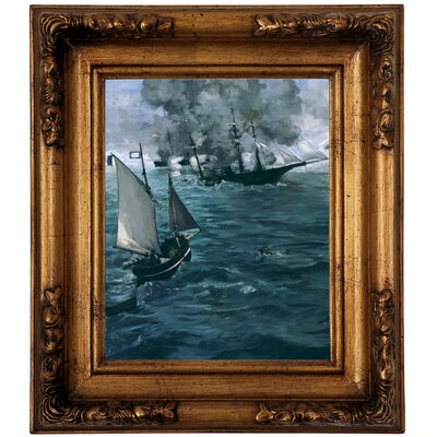 'The Battle of the U.S.S. Kearsarge and the C.S.S. Alabama 1864' by Edouard Manet Framed Graphic Art Print on Canvas Size: 14.5