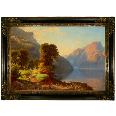 'A View of a Lake in the Mountains' Framed Graphic Art Print on Canvas Size: 24.25