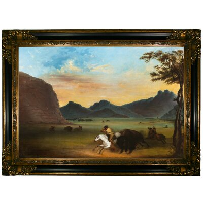 'Buffalo Hunt 1839' Framed Graphic Art Print on Canvas Size: 24.25