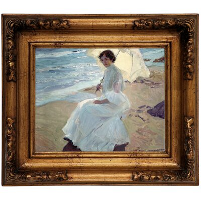 'Clotilde on the Beach 1904' Framed Graphic Art Print on Canvas Size: 12.5