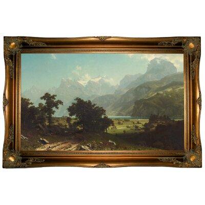 'Lake Lucerne 1858' Framed Graphic Art Print on Canvas Format: Ornate Gold Frame