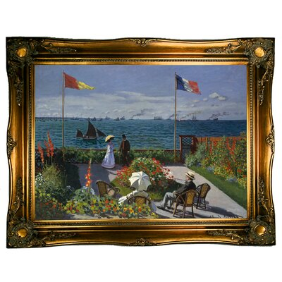 'Garden at Sainte Adresse' by Claude Monet Framed Graphic Art Print on Canvas Size: 24.5